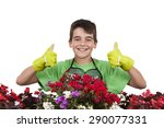 young with flowers  gardening... | Shutterstock . vector #290077331