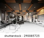 sketch design of living  3dwire ... | Shutterstock . vector #290085725