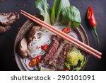 vietnamese pho bo soup served... | Shutterstock . vector #290101091