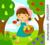 cute little girl picking fruit... | Shutterstock .eps vector #290102099