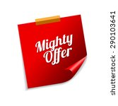 mighty offer red sticky notes... | Shutterstock .eps vector #290103641