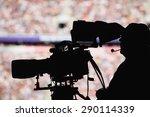 silhoutte of a camera man in a... | Shutterstock . vector #290114339