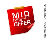midnight offer red sticky notes ... | Shutterstock .eps vector #290120165