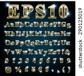 vector set of metallic letters... | Shutterstock .eps vector #290125019