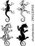 chimera and salamander tattoo | Shutterstock .eps vector #290133935