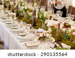wedding reception.  rustic .  | Shutterstock . vector #290135564