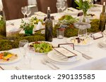 wedding reception.  rustic .  | Shutterstock . vector #290135585