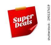 super deals red sticky notes... | Shutterstock .eps vector #290137619