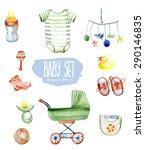 baby set. vector watercolor... | Shutterstock .eps vector #290146835
