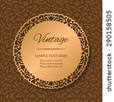 vintage round lacy golden frame ... | Shutterstock .eps vector #290158505