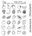 thirty doodle icons fruits... | Shutterstock .eps vector #290163695