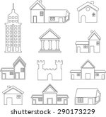 set of icons of houses | Shutterstock .eps vector #290173229