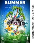 vector summer beach party flyer ... | Shutterstock .eps vector #290175731