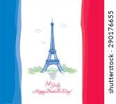 14 july. happy bastille day  | Shutterstock .eps vector #290176655