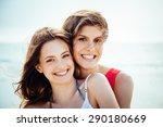 beach in summer. a couple of... | Shutterstock . vector #290180669