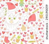 cute vector christmas seamless... | Shutterstock .eps vector #290190059