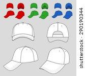baseball  tennis cap colored... | Shutterstock .eps vector #290190344