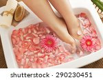 foot bath in bowl with flower... | Shutterstock . vector #290230451