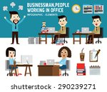 businessman and women working... | Shutterstock .eps vector #290239271