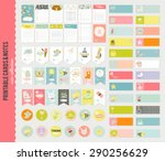 Stock vector big set of romantic and cute vector cards notes stickers labels tags with spring illustrations 290256629
