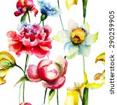 seamless pattern with spring...   Shutterstock . vector #290259905