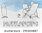 freelancing  man typing on his... | Shutterstock . vector #290304887