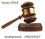 a wooden judge gavel and... | Shutterstock .eps vector #290319107