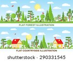 flat vector tree and house... | Shutterstock .eps vector #290331545