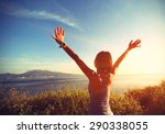 young cheering woman open arms... | Shutterstock . vector #290338055