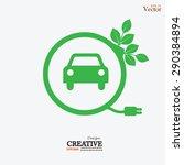 electric car icon.eco car... | Shutterstock .eps vector #290384894