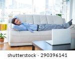 businessman looking at camera... | Shutterstock . vector #290396141