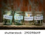 glass jars with dollars and... | Shutterstock . vector #290398649