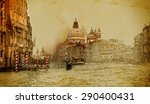 venice on old paper background... | Shutterstock . vector #290400431