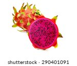 red dragon fruit cut in half... | Shutterstock . vector #290401091