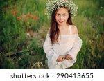 beautiful little girl in a...   Shutterstock . vector #290413655
