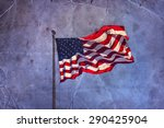 american flag waving on blue sly | Shutterstock . vector #290425904