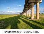 bridge of railway cross grass... | Shutterstock . vector #290427587