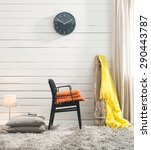 wood wall living room | Shutterstock . vector #290443787