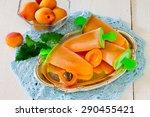 peach ice cream on a white... | Shutterstock . vector #290455421