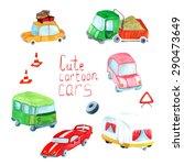vector watercolor transport set.... | Shutterstock .eps vector #290473649