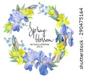 Floral Wreath With Iris Flowers ...