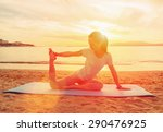 young woman doing yoga exercise ... | Shutterstock . vector #290476925