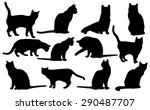 Stock vector vector cats silhouette 290487707