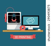 3d printing concept design with ... | Shutterstock .eps vector #290493875