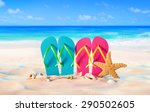 couple sandals and shells on... | Shutterstock . vector #290502605