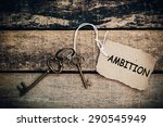 Small photo of The concept of 'ambition' is translated by key and silver key chain.