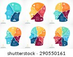 Stock vector vector puzzle human face infographic cycle brainstorming diagram creativity generating ideas 290550161