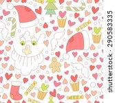 cute  christmas seamless... | Shutterstock . vector #290583335