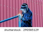 worker with protective mask... | Shutterstock . vector #290585129