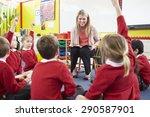 teacher reading story to... | Shutterstock . vector #290587901